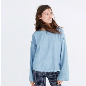 Madewell Convertible Cold Shoulder Top in Indigo